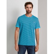 TOM TAILOR Gestreepte T-Shirt, teal blue printed stripe, S