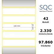Etichette SQC - Carta normale (vellum) (bobina), formato 100 x 20