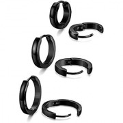 Classic Black Plain Thin Cambered Huggie Hoop Combo Ear Lobe Earrings stud for Men & Women - 3 Pairs