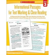 Informational Passages for Text Marking & Close Reading: Grade 3: 20 Reproducible Passages with Text-Marking Activities That Guide Students to Read St, Paperback/Martin Lee