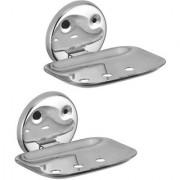 Kamal Lotus Stainless Steel Soap Dish Holder (Set of 2) (Silver)