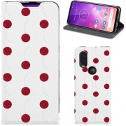 Motorola One Vision Flip Style Cover Cherries