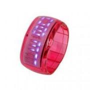 Ceas cu LED tip bratara elastica rosie