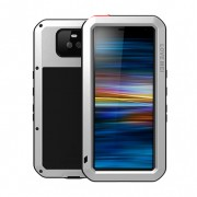 LOVE MEI Dust-proof Shock-proof Splash-proof Defender Phone Casing for Sony Xperia 10 - Silver