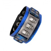 The Jewelbox Denim Blue 100 Genuine Handcrafted Leather Wrist Band Strap Biker Bracelet Boys Men