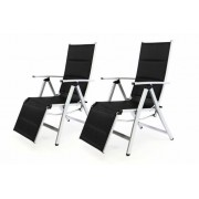 Sada 2 ks DELUXE záhradných polohovateľných stoličiek s opierkou – čierna
