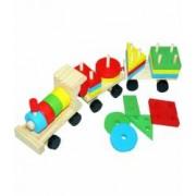 Tren din lemn cu forme geometrice colorate