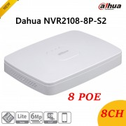 New English Version Dahua NVR2108-8P-S2 8Ch Smart 1U 8PoE Lite Network Video Recorder H.264+/H.264 HD1080P Up to 6Mp Max 80Mbps