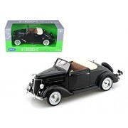 1936 Ford Cabriolet Deluxe Black 1/24 by Welly 22422