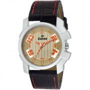 GIONEE MRT-012 Analog Brown Dial Casual Wrist Watch for Men with Durable Leather Stripe.