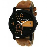 True Colors Lor AM Brown Round Dial Tan Leather Quartz Watch For Men