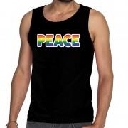 Bellatio Decorations Peace gay pride tanktop/mouwloos shirt zwart heren
