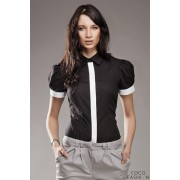 Pleated Puffed Shoulder Collared Black Shirt with Contrast Trim
