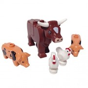 Minifigure Packs: Lego Farm Animals Bundle (1) Cow Reddish Brown (2) Spotted Pigs Black (2) Chickens White