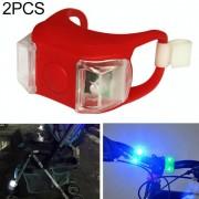 2 stks buiten nacht silicone voorzichtigheid lamp fiets licht mountainbike decoratie veiligheidswaarschuwing licht achterlicht (rood)