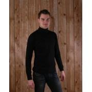 New Wave Heren col shirt lange mouw zwart L Zwart