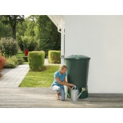 Rezervor Basic + Stand Round Water Butt culoare Dark Green 310 lt.
