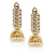 Rubans Gold Toned Kundan Jhumka Earrings