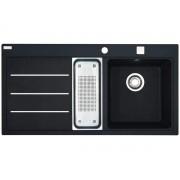 Chiuveta Franke Mythos Fusion MTF 651-100 Nero Fragranite 98996277, 1000 x 515, 1 ½ B 1D, Cuva dreapta, 2 accesorii, Negru