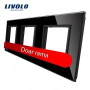 Rama priza tripla Livolo din sticla, negru