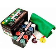 Set Joc de Poker cu 200 Jetoane si Cutie Metalica + Accesorii Complete