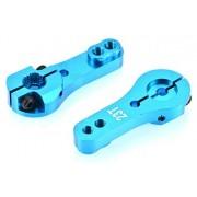 Apex RC Products 23T JR / Airtronics / KO Blue Aluminum Dual Clamping Servo Horn - 2 Pack #8004