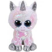 Jucarie de plus TY 24 cm - Boos unicorn alb cu paiete