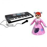 NEW PINCH Combo of 37 Key Piano Keyboard Toy with DC Power Option with Dancing and Rotating Princess doll for kids