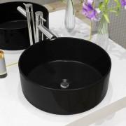 vidaXL Керамична мивка, кръгла, черна, 40x15 см