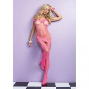 Vestido Rede C/ Renda Efeito Liga Rosa