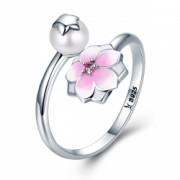 Inel argint 925 reglabil cu perla floare si zirconiu roz - Be Nature IST0030