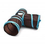 Gracioso Gatos De Nylon En Forma De T Juguetes Túnel Plegable De Tres Vías De Formación Plegable Inicio Productos Accesorios Suministros Túnel Pet-Black & Blue