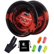 MAGICYOYO Unresponsive K8 Yoyos, YoYo Professional Best Gift for Halloween Christmas, 5strings yoyo Gift and Glove Include (red&Black)
