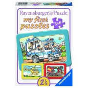 Primul meu puzzle 3 in 1 - Politie si pompieri, 18 piese