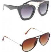 Hrinkar Rectangular Sunglasses(Grey, Brown)