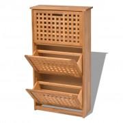 vidaXL Шкаф за съхранение на обувки, твърдо орехово дърво, 55x20x104cм