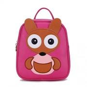 OUOK Girls Bag OUOK Mochila de piel sintética con diseño de oso de dibujos animados para niños y niñas, 4 colores, Rosa roja-25 cm