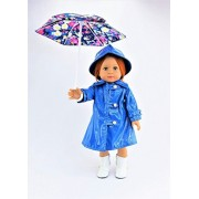"Blue Raincoat with Hat, Boots, and Floral Umbrella 4-piece Set | Fits 18"" American Girl Dolls, Madame Alexander, Our Generation, etc. 