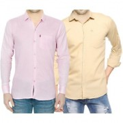 Fight Club Shirt 2 Pack Of Plain Casual Slimfit Poly-Cotton Shirts Cream Pink