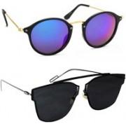 Tazzx Cat-eye, Butterfly Sunglasses(Blue, Black)