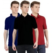 FUEGO Fashion Wear Combo Of Polo T-shirt For Men- Pack Of 3 FG-3CM-POLO-BLK-DB-MRN