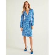 Boden Kräftiges Blau, Blumenmuster Elodie Wickelkleid aus Jersey Damen Boden, 48 R, Blue