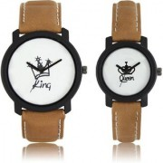 Ismart couple King-Queen white dial leather watch a1