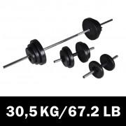 vidaXL Комплект лост за щанга, 2 дъмбела и дискове, 30,5 кг.