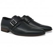 vidaXL Sapatos de homem c/ fivelas tamanho 41 couro PU preto