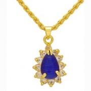 MissMister Gold Plated CZ Titanic Blue Colour Cabochon Pear Shape Chain Pendant Necklace Jewellery for Women