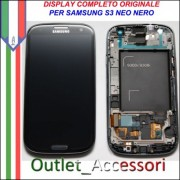 Display LCD Touch Samsung Galaxy S3 Neo Nero Black I9301 Originale Schermo GT Cornice Gorilla Glass