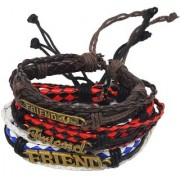 Sullery Friend Charm Adjustable Lace Up Best Quality Handmade Braided Three Layer Leather Bracelet