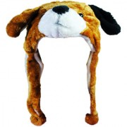 Soft Faux Fur Plush Stuffed Cute Dog Animal Costume Cap with Toy Hood for Boys and Girls (Beige Free Size)