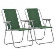 vidaXL Scaune camping pliabile, 2 buc., 52 x 59 x 80 cm, verde
